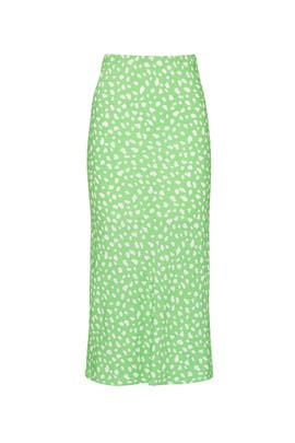Green Printed Midi Skirt by Moon River
