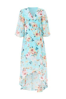 Blue Midi Wrap Dress by Slate & Willow