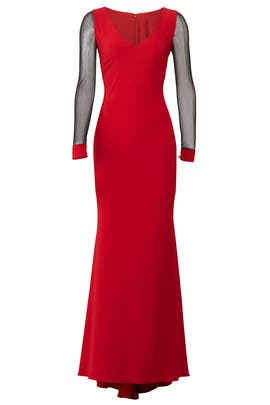 Ruby Illusion Sleeve Gown by Badgley Mischka