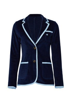 Light Blue Trim Toweling Blazer by BASK