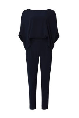 Navy Draped Jumpsuit by HALSTON