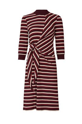 Striped Long Sleeve Tie Knot Dress by KINLY