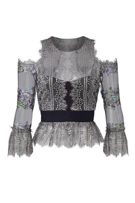 Floral Lace Peplum Top by Marchesa Notte