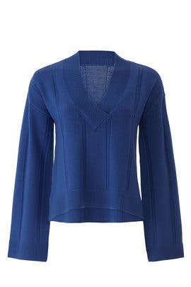 Military Blue V-Neck Pullover by Derek Lam 10 Crosby
