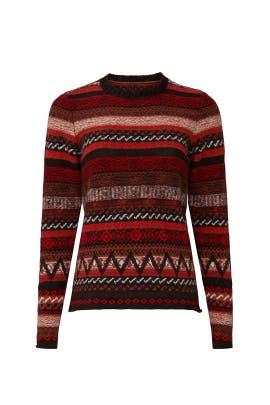 Red Print Crewneck Sweater by JOSEPH