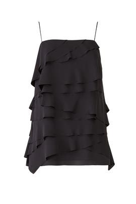 Black Ruffle Tank Top by Jason Wu