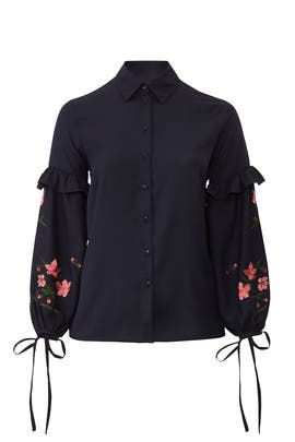 Embroidered Sleeve Shirt by LOST INK