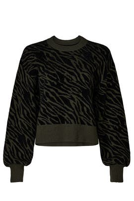 Olive Zebra Sweater by Marissa Webb Collective