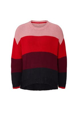Red Stripe Knit Sweater by Sundry