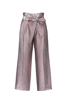 Pink Metallic Wide Leg Pants by Badgley Mischka