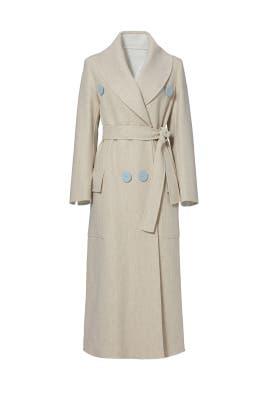 Beige Shawl Collar Coat by DEREK LAM