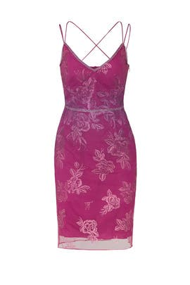 0f8b7f1c Pink Metallic Floral Dress by Marchesa Notte for $75 - $90 | Rent ...