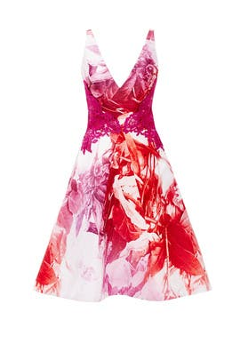 Pink Petal Print Dress by ML Monique Lhuillier