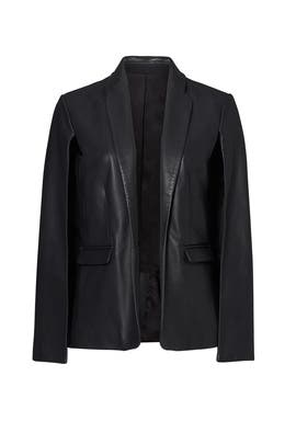 Black Leather Cape Blazer by Badgley Mischka