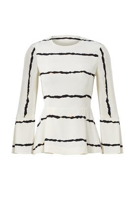 White Printed Crew Top by Derek Lam 10 Crosby