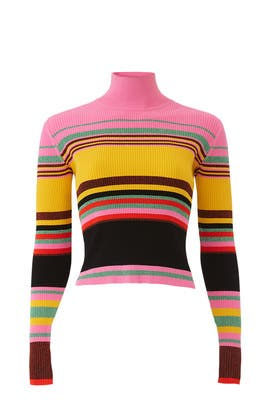 Metallic Stripe Turtleneck by Diane von Furstenberg