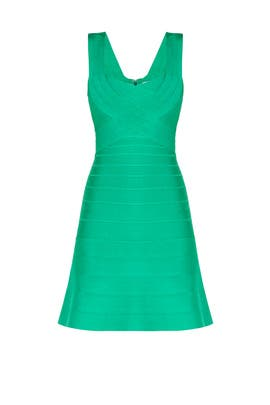 Green Elisha Novelty Bandage Dress by Hervé Léger