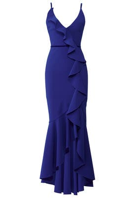 f7cbebdd670 Marchesa Notte Royal Blue Ruffle Gown