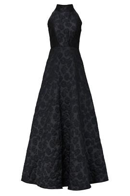 High Neck Jacquard Gown by ML Monique Lhuillier