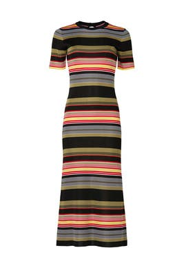 Robe Striped Midi Dress by Paco Rabanne