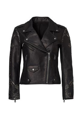 Black Studded Moto Jacket by Rebecca Minkoff