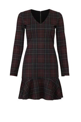Berry Plaid Flare Dress by Slate & Willow