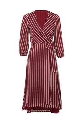 Burgundy Stripe Wrap Dress by Slate & Willow