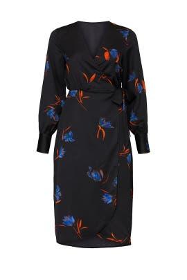 Black Printed Wrap Dress by VERO MODA