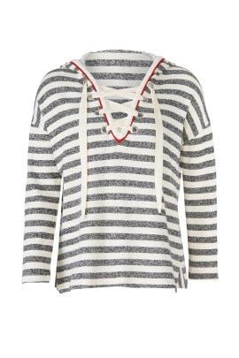 Stripe Lace Up Sweater by White + Warren