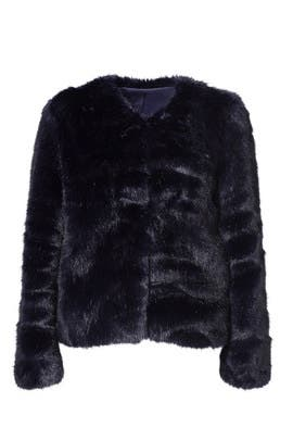 Midnight Faux Fur Topper Jacket by Amanda Uprichard