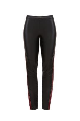 Faux Leather Side Stripe Leggings by Josie Natori