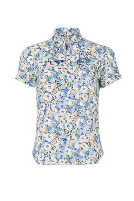Blue Floral Tie Neck Top by Polo Ralph Lauren
