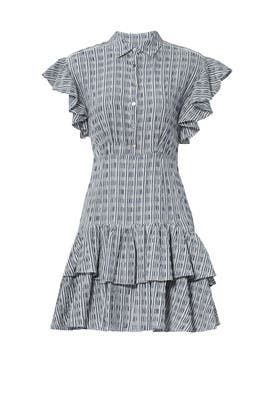 Blue Ruffle Stripe Dress by Rebecca Taylor