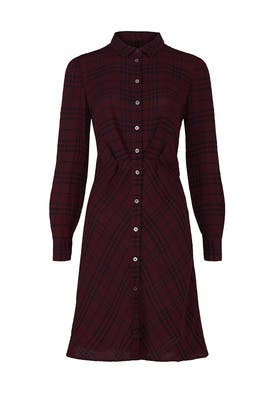 Crinkled Plaid Shirtdress by Thakoon Collective