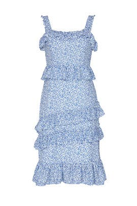 Blue Ivory Floral Dress by Alexia Admor
