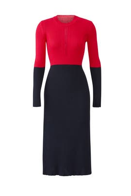 Long Sleeve Colorblock Knit Dress by Cedric Charlier