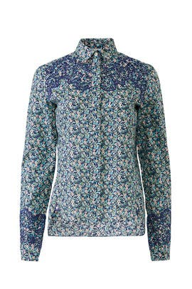 Navy Liberty Collared Blouse by Paco Rabanne