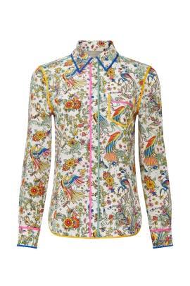 Ivory Contrast Binding Shirt by Tory Burch