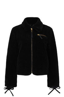 Black Faux Sherpa Jacket by Tory Burch