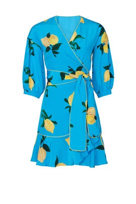 Lemon Printed Wrap Dress by Chinti & Parker