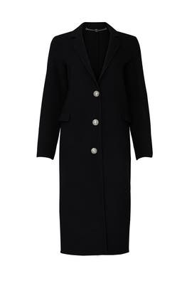 Black Wool Three Button Coat by Paco Rabanne