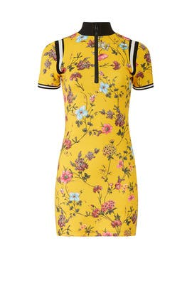 Yellow Floral Short Sleeve Sheath by Pam & Gela