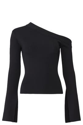 Black One Shoulder Top by Solace London