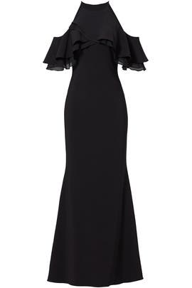Black Crossover Ruffle Gown by Badgley Mischka