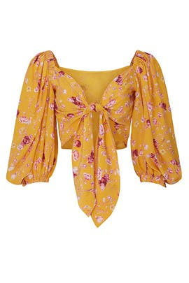 Yellow Floral Crop Top by Chelsea and Walker