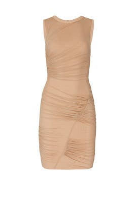 Tan Mesh Bondage Dress by Hervé Léger