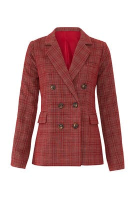 Red Plaid Ivy Blazer by HEARTLOOM
