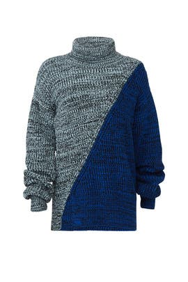 Blue Bicolor Turtleneck Sweater by Derek Lam 10 Crosby