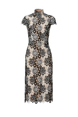 Black and White Floral Lace Dress by ML Monique Lhuillier