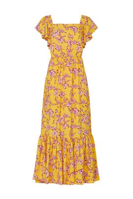 Yellow Flutter Sleeve Floral Dress by Sachin & Babi